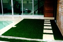 Courtyards Using Faux Grass / These projects use artificial turf grass in small outdoor spaces. Alongside with stone, steel, wood, concrete and plant material.