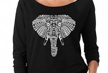 SignatureTshirts Women's Tribal Bohemian Elephant Head