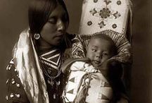 native american mother and babies