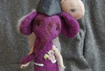 Girl elephant Lily - Mixed Media Art Doll - Antique…