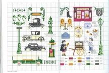 point de croix et voitures anciennes