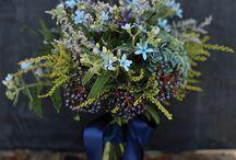 Color Inspiration: Blue n Purple / Mains: Carolina Blue, Duke Blue, Plum Purple Mid: Royal Purple, Lavender purple, Green (foliage) Accent:Gold, ivory (in plate ware)