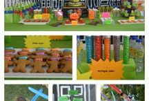 Teenage Mutant Ninja Turtle Party / TMNT birthday party ideas including cake, snacks and dinner suggestions. Ideas for decorations and party games