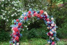Spring Garden Wedding Arbour / Peonies, David Austin Arbour, Spring florals