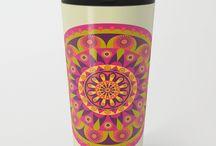 Ceramic Mugs, Travel Mugs, Coasters / This is a collection of ceramic mugs, travel mugs, and coasters.  #coffeemugs #travelmugs #coasters