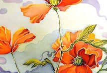 painting flowers sarita le roux