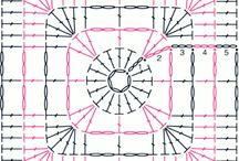 quadrados em crochet