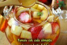 agua de frutas y te