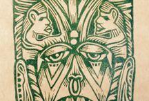 Linocuts - Linoleogravuras - Máscaras / Series of linocut Masks for protection against bad spirits