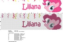 Cross stitch names with Pinkie Pie My Little Pony / Cross stitch names with Pinkie Pie My Little Pony, free cross stitch patterns by Alex and Anna.