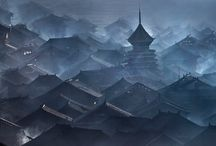 Toits de Chine sous ciel de brume
