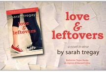 """Love and Leftovers - a novel in verse / My wish is to fall cranium over Converse in dizzy, daydream-worthy love.  (If only it were that easy.)  When her parents split, Marcie is dragged from Idaho to New Hampshire. She leaves behind her friends, a group of freaks and geeks called the Leftovers, including her emo-rocker boyfriend, and her father. By the time Labor Day rolls around, Marcie suspects this """"vacation"""" has become permanent. She starts at a new school where a cute boy brings her breakfast and a new rom"""