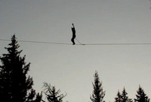 Slacklining / Slacklining (noun): A practice in balance that typically uses nylon webbing tensioned between two anchor points. Many people suggest Slacklining is distinct from tightrope walking in that the line is not held rigidly taut (although it is still under some tension); it is instead dynamic, stretching and bouncing like a long and narrow trampoline.