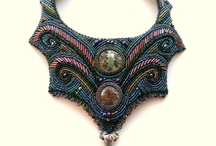 Bead embroidered statement neckles