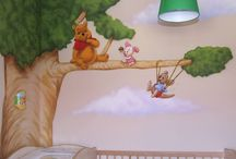 Nursery mural for boys and girls / Winnie the pooh nursery mural