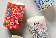 mugs / i have a thing for mugs..i don't like to have 2 cups or mugs the same..each piece must be different..i like the feeling of uniqueness that each one has..and how it makes me feel when i drink from different size and how beautiful or weird each mug is...i like that...besides that i like to buy or receive as gift..i also give as gift mugs..because i like what each cup can offer..a good warm tea or hot coffee..a special feeling..