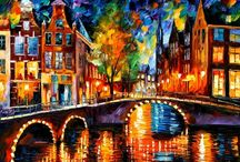 LEONID AFREMOV / Leonid Afremov is one of the most distinguished contemporary artists known for his unusual painting manner and a powerful emotional impact his artworks have on a human soul. A man of great talent and imagination, he tries to find inspiration in simple things that can sometimes hold more meaning than the loudest words. Looking for new impressions and fresh ideas, to tell it in the language of color on one of his bright, eye-striking canvasses.