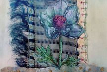 Fabric and paper Collage