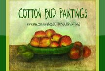 Cotton Bud Paintings / ARTWORK by MARIA PRASSA  OIL PAINTINGS ON CANVAS ON SALE AT ETSY  ~  NEW ARTWORK BEING CONTINUOUSLY ADDED