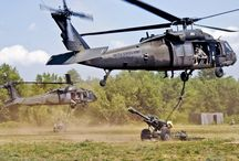 Military airlift and attack helicopter