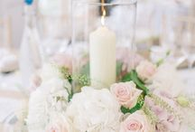 Pink white & gold wedding