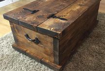 Dark wooden chest table