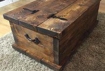 Dark wooden chest table