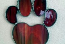 Stained glass paw print paw print
