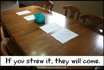 Strewing (Learning Centers) for Homeschooling / Strewing is often used among unschoolers, but really all types of homeschoolers use it.   Build a special station (it can be on your dining room table, of an area in the living room, etc) and set up an activity for the kids to check out on their own.  Learning centers and learning stations.