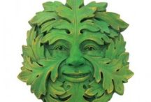 "Greenmen / The Green Man motif has many variations. Found in many cultures around the world, the Green Man is often related to natural vegetative deities springing up in different cultures throughout the ages. Primarily it is interpreted as a symbol of rebirth, or ""renaissance,"" representing the cycle of growth each spring. The face is almost always male; green women are rare. Green cats, lions, and demons are also found. / by Crystal Life Technology, Inc."