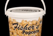 Fisher's Popcorn Products / Fisher's popcorn tins, tubs, and bags