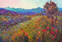Poppies with blue and purple hills