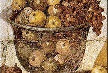affreschi - Roman frescoes / roman fresco: fruit, flowers and gardens, meals and banquets,