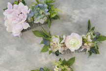 Floral hair combs