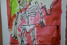 Skeletons / A collection of all the skeleton pictures that have been created in our art classes at Faux Arts
