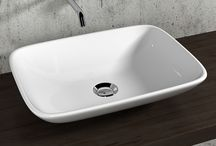 "Lavabi Olympia Ceramica / Various models of ""vanity washbasins"" for bathroom, with different way of installation and collocation, alone or combined with furnishing elements, designed to offer always simple and refined solutions."