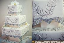 Painted, Embroidery wedding cakes