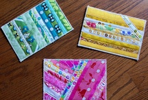 Fabric Postcards / Postcards made of fabric, embellished, quilted and appliqued