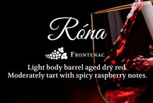 Róna / 100% Frontenac: Light body barrel aged dry red. Moderately tart with spicy raspberry notes.
