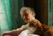 old women and cat