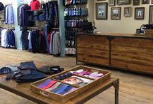 Debonair in Lisburn / Industrial counter and table we made for a clothes shop called Debonair in Lisburn using our barn oak.