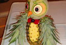 Carving of fruit and vegetables / The beauty of a chef's carving