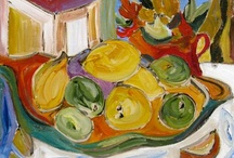 Fruits on my Easel / Original paintings on canvas inspired by the organic shapes & colors of fresh fruits.