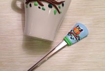 Polymer clay mugs, cutlery, dishes