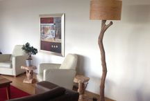 lamparas de tronco de madera