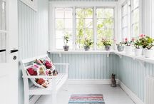 Grey and white painted wooden floor