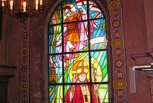 Sacral Stained Glass 2 / Good way to use our glass are sacral stained glasses which do not require any stell frames and any lead joints. Our sacral stained glass are jointed with carrier glass or (if require) glued with resin. Distinguishing marks of those windows are mechanical steadiness and a good coefficient of thermal insulation. Besides they not require conservation as well as they do not subject to corrosion ageing..