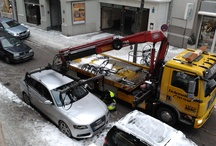 Towing Circus / Shows Eichenseher in action. Nearly daily they start the towing circus. And Munich earns big money: costs rdb. 250 Euros.