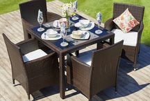 Modern Patio Set Dark Brown Garden Beautiful Outdoor 4 Seat Rattan Chairs Table