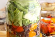 Salads in a Jar / Make ahead, then grab a salad anytime!  / by Correen K | Food Lovers Web